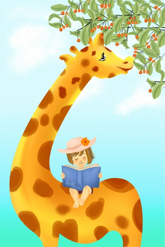giraffe hand drawn giraffe little girl little girl reading a book llustration image