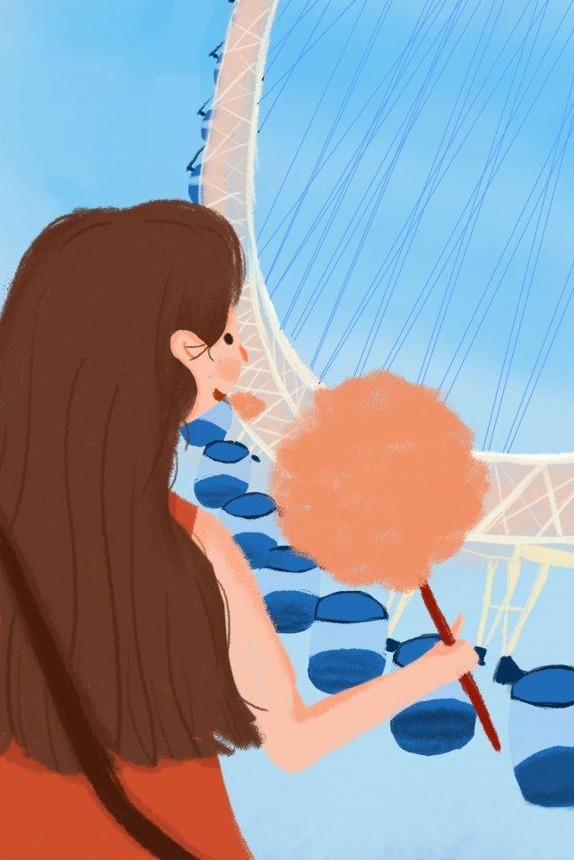 女の子遊園地遊び観覧車 イラスト素材 イラスト画像
