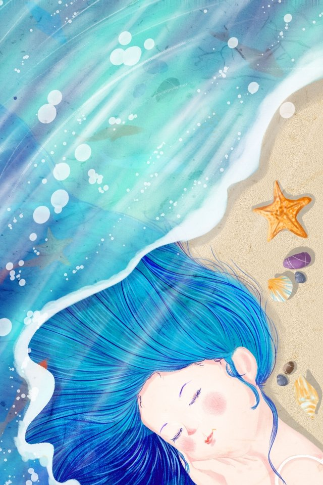 girl and sea sea ocean llustration image