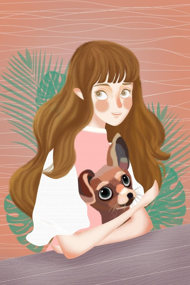 girl animal human and nature hello summer llustration image