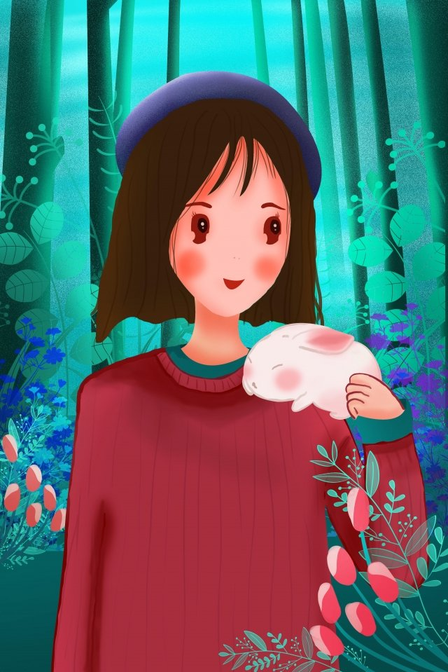 girl animal human and nature people and animals, Teenage Girl, Long Hair, Pet illustration image