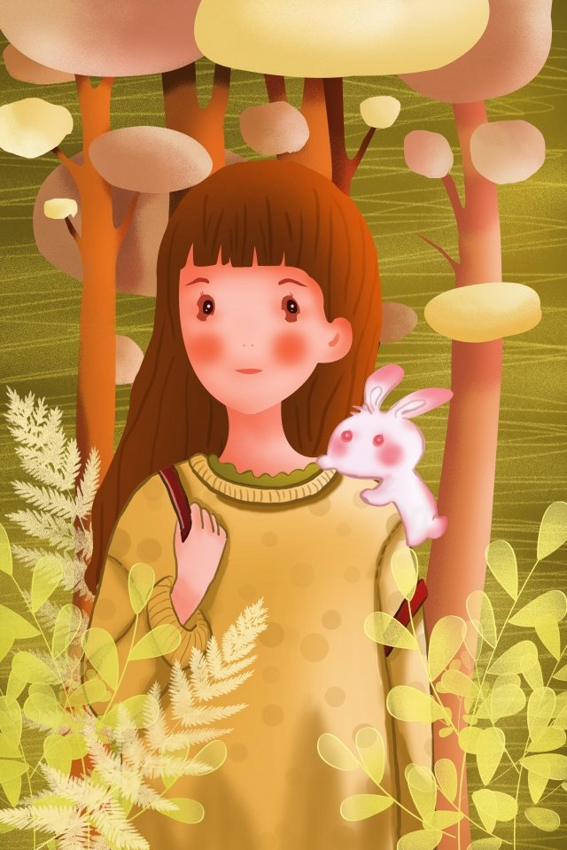 girl animal human and nature people and animals, Beautiful, Teenage Girl, Long Hair illustration image