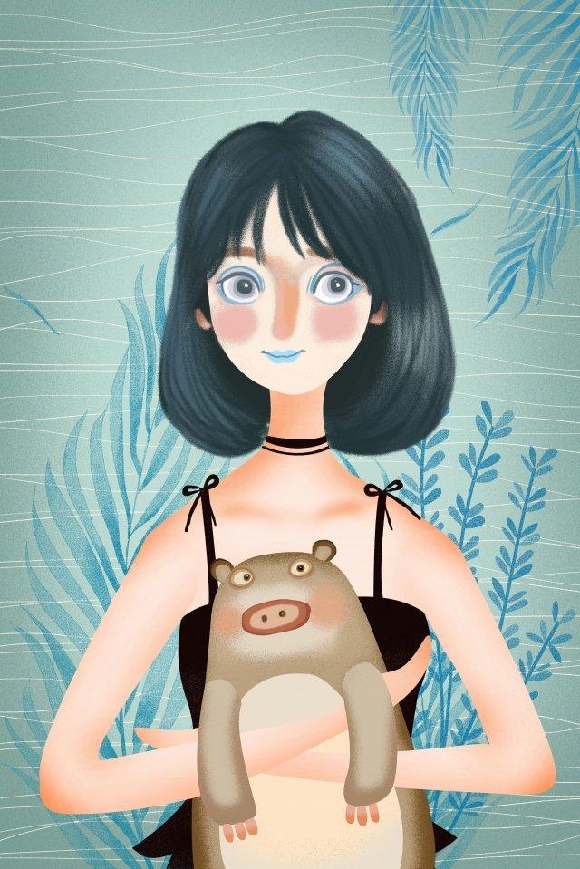 소녀 동물 인간과 자연 여름 삽화 소재