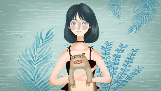 소녀 동물 인간과 자연 여름 삽화 소재 삽화 이미지