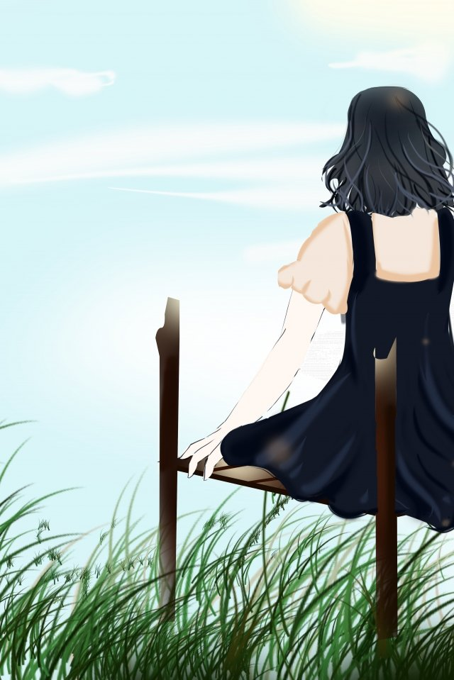 girl back view grass sky, Youth, Beautiful, Happy illustration image