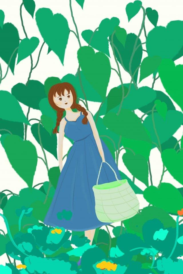 लड़की बैग घास फूल चित्रण छवि