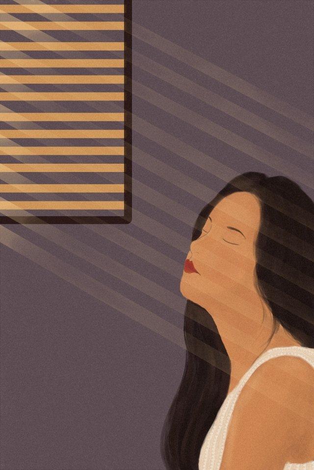 아름다운 소녀 조용한 조용한 삽화 소재 삽화 이미지