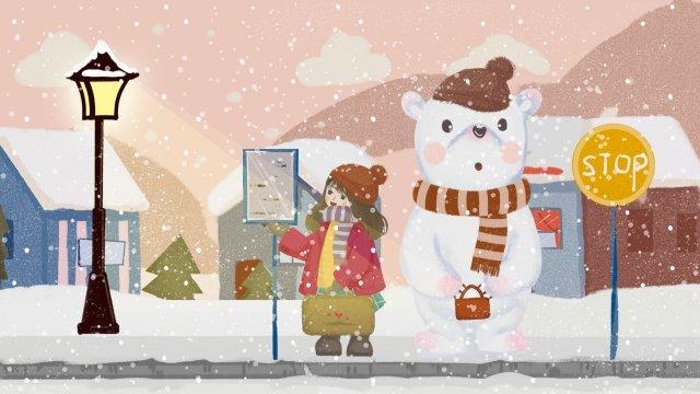 여자 곰 방송국 snowing 삽화 소재