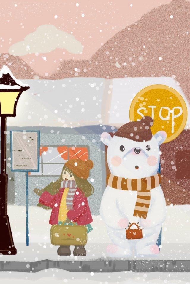 雪が降っている女の子クマ駅 イラストレーション画像