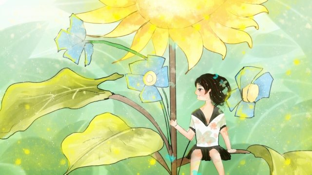 girl beautiful illustration hand painted, Healing, Sunflower, Lovely illustration image