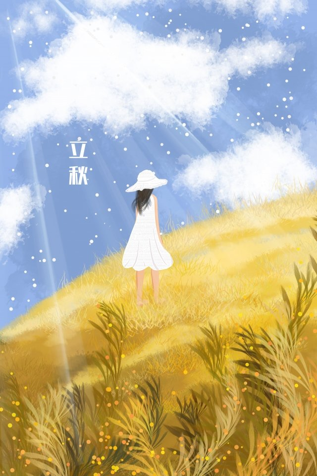 girl blue sky white clouds grassland, Beginning Of Autumn, Fall, Golden Autumn illustration image