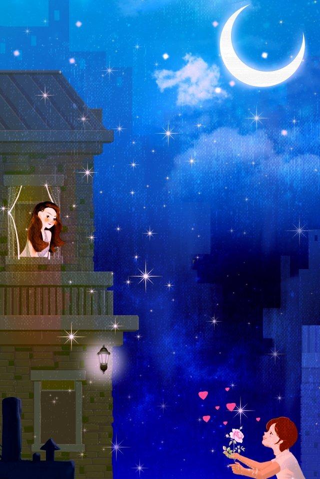girl boy night moon llustration image