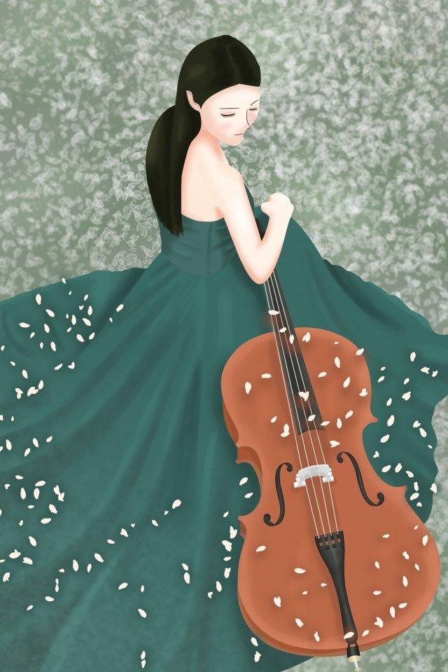 소녀 첼로 아름다운 낭만적 인 삽화 소재