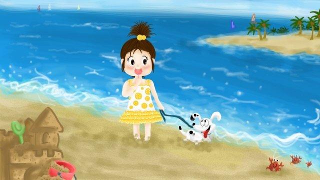 cô gái chó mùa hè bên bờ biểnBiển  Kỳ  Nghỉ PNG Và PSD illustration image