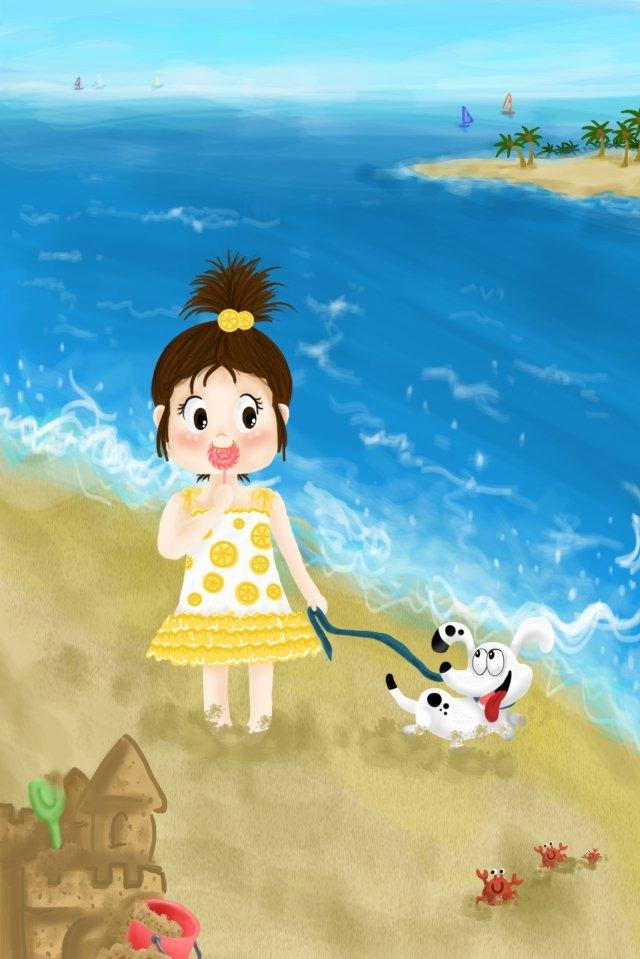 girl dog summer seaside, Sea, Vacation, Beach illustration image
