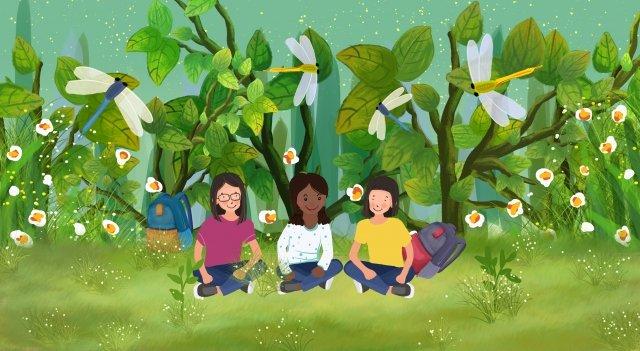 소녀 잠자리 나들이 친구 만들기 삽화 소재 삽화 이미지