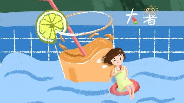 girl great heat midsummer swimming pool llustration image