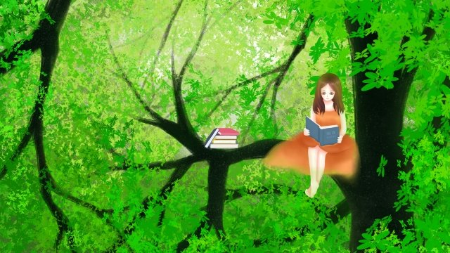 girl hand painted illustration big tree, Forest, Read, Trees illustration image