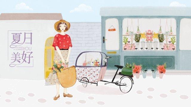 menina ilustração casa floricultura Material de ilustração Imagens de ilustração