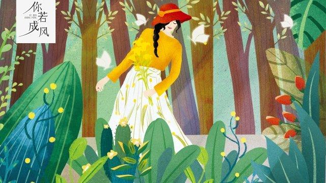 girl illustration plant tree, Butterfly, Flower, Dancing illustration image