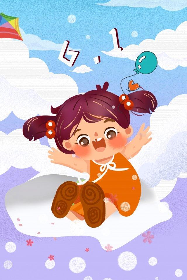 girl illustration sky cloud, Balloon, Kite, Cartoon illustration image