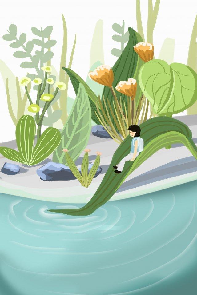 女の子湖表面葉新鮮な イラスト素材