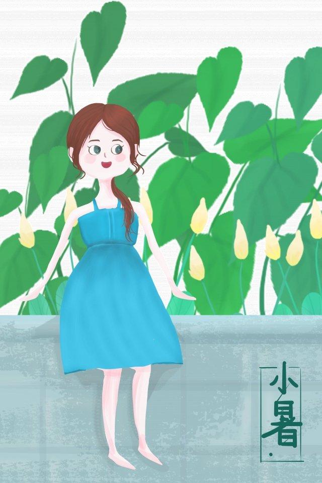 लड़की पत्ती फूल धूप चित्रण छवि