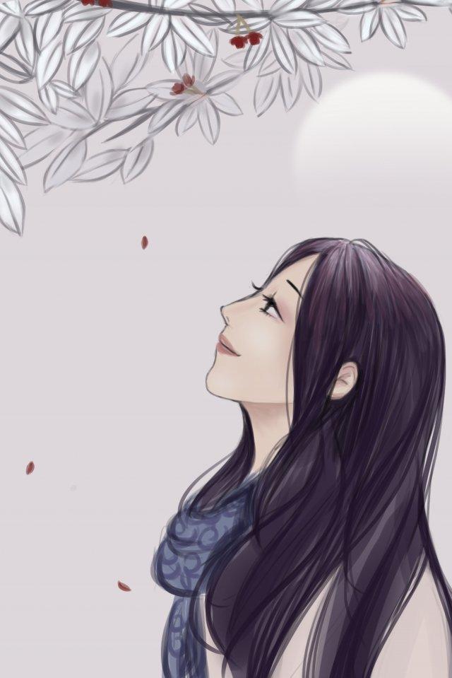 女の子の長い髪のスカーフ植物 イラスト素材