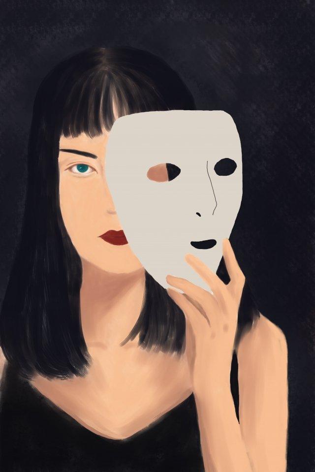 fille sombre système mélancolique triste image d'illustration