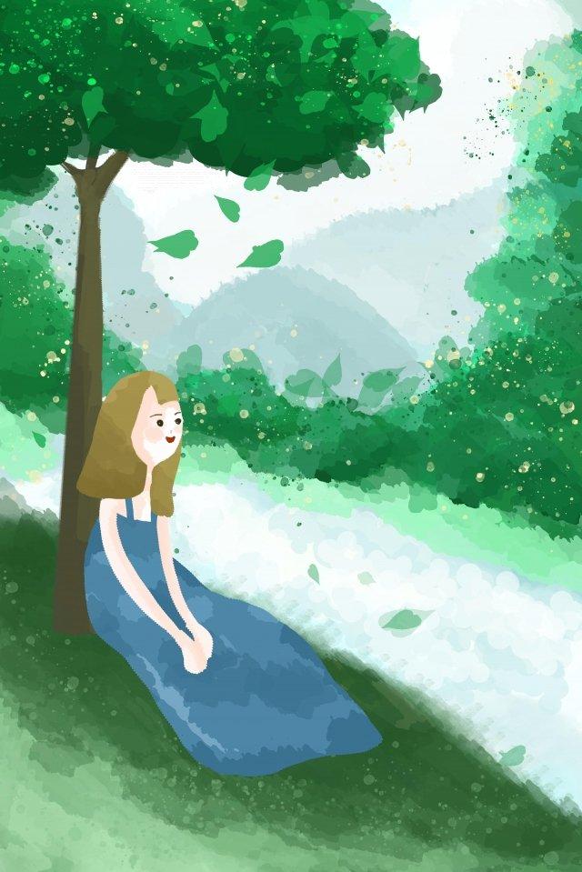 gramado de árvores naturais de menina Imagem de llustration