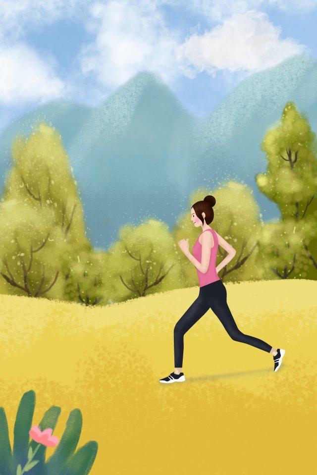 girl outdoor motion fitness illustration image