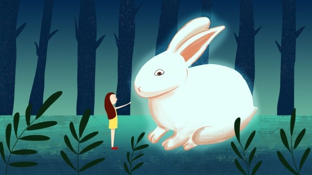 girl rabbit quiet time healing, Lovely, Beautiful, Warm illustration image