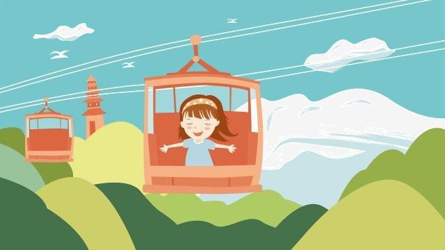 乘坐纜車的女孩手拉的女孩漫畫人物塔 插畫素材