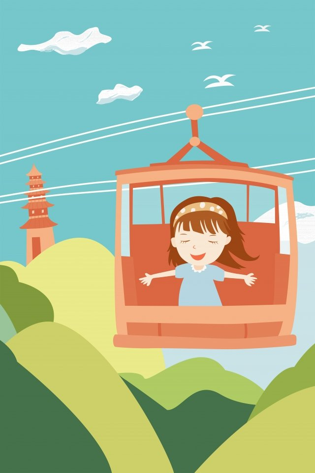 girl riding a cable car hand drawn girl cartoon character tower llustration image