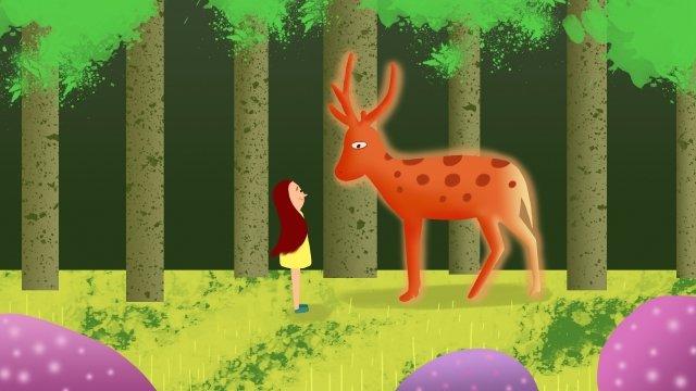 girl sika deer quiet time healing, Forest, Grass, Grassland illustration image