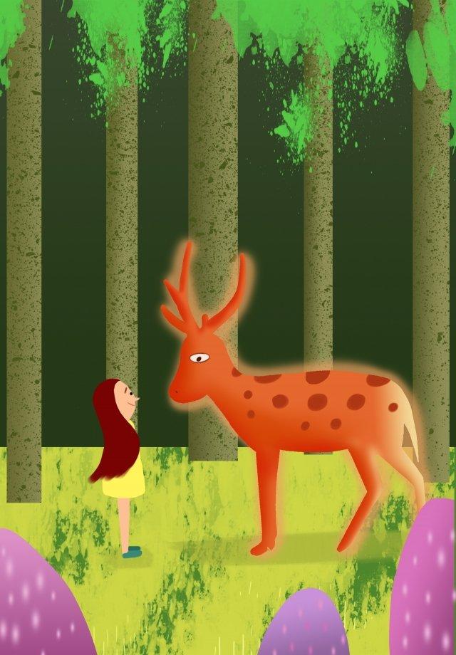 Hệ thống chữa bệnh thời gian yên tĩnh của cô gái và sika deer Cô gái Hươu nai ThờiGian  Thống  Xanh PNG Và PSD illustration image