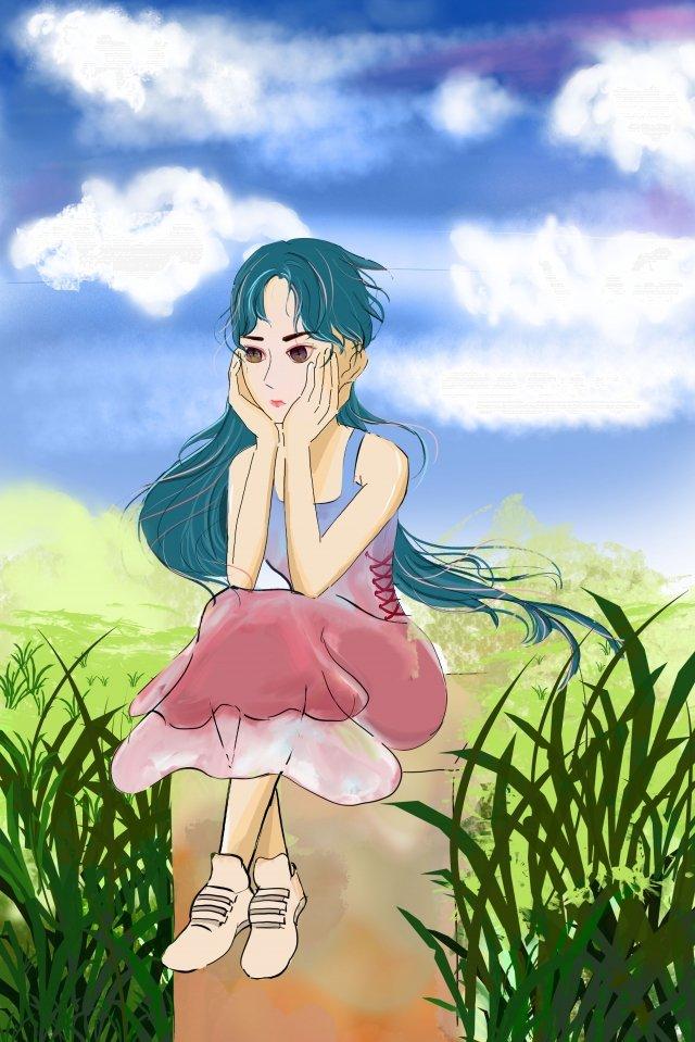 女孩坐自然藍天 插畫素材