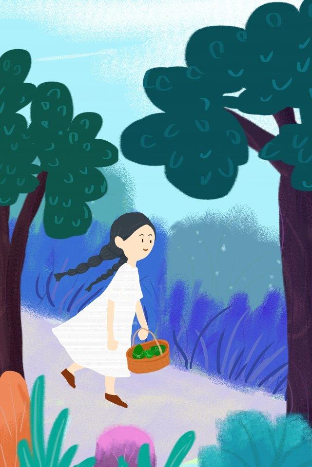 女の子木草空 イラスト素材 イラスト画像