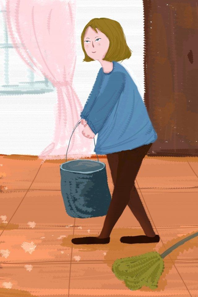 girl water bucket window llustration image illustration image