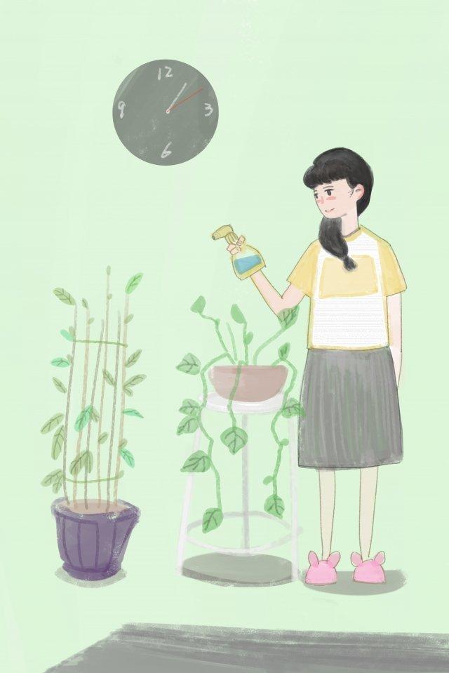 garota regando flores flor Material de ilustração