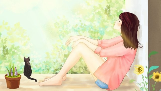 girl weekend lazy afternoon lazy, Sunlight, Literary, Girl illustration image
