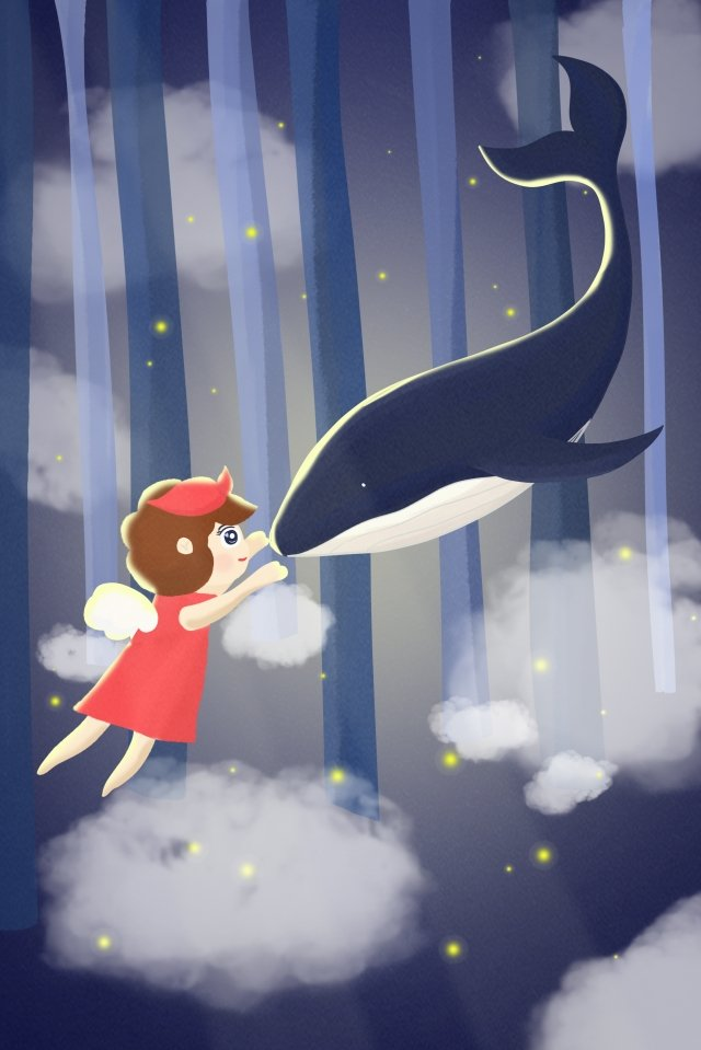 girl whale animal humanity, Forest, White Clouds, Heavy Fog illustration image