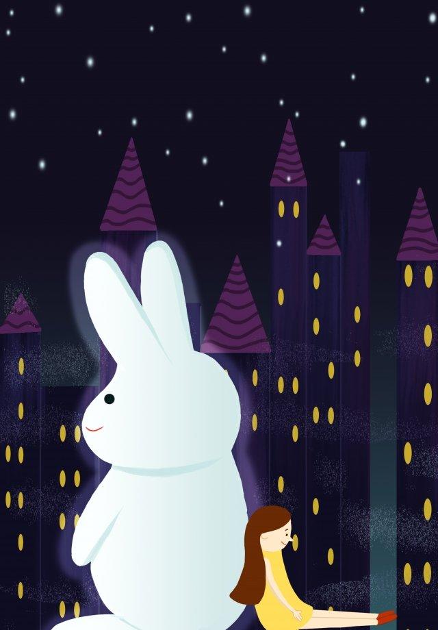 少女白ウサギ静かな時間癒し イラスト素材 イラスト画像