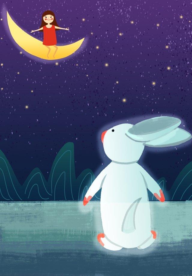 少女白ウサギ静かな時間癒し イラスト画像
