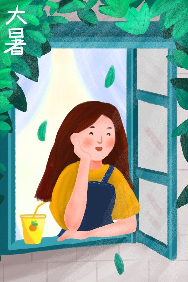 girl window drink vine llustration image illustration image