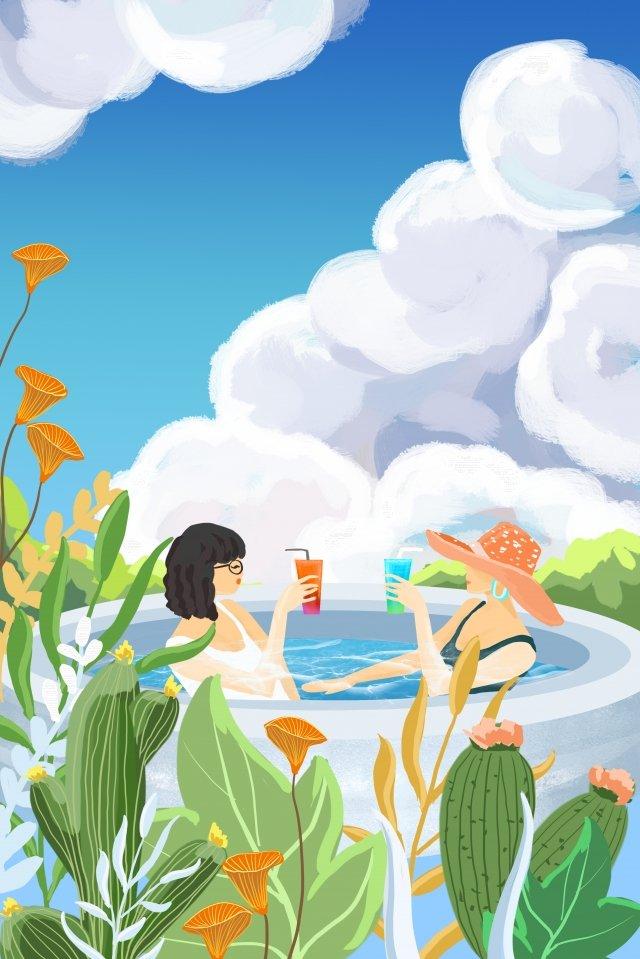 girlfriend girl swimming pool summer illustration image