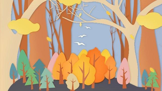 vàng bắt đầu cắt giấy mùa thu Hình minh họa