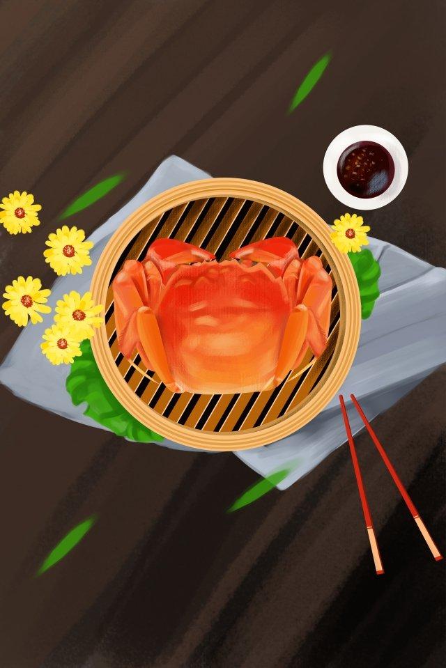 黄金の秋食品手描きイラスト毛深いカニ イラスト素材