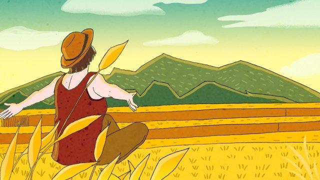 ゴールデン報酬収穫風景 イラストレーション画像