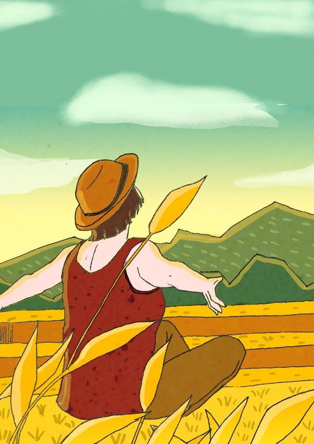 ゴールデン報酬収穫風景 イラスト画像